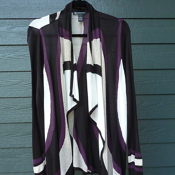 INC International Concepts Sweaters - INC DRPAED CARDIGAN BLACK GOLD PURPLE SZ LARGE